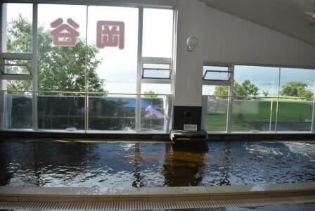 天然温泉が茶色くはられている。 窓からは諏訪湖が見える。 木が見える。